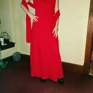 Floor length gown w/shawl and spaghetti straps